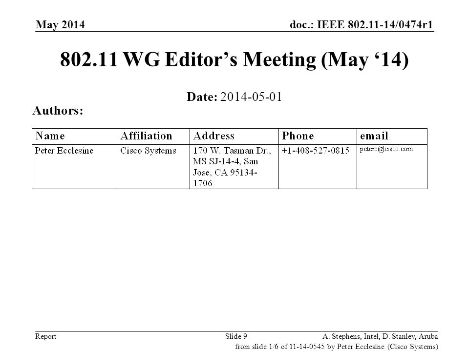 802.11 WG Editor's Meeting (May '14)