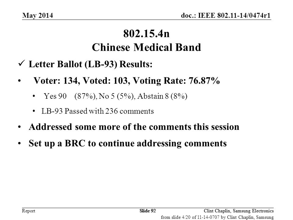 802.15.4n Chinese Medical Band Letter Ballot (LB-93) Results: