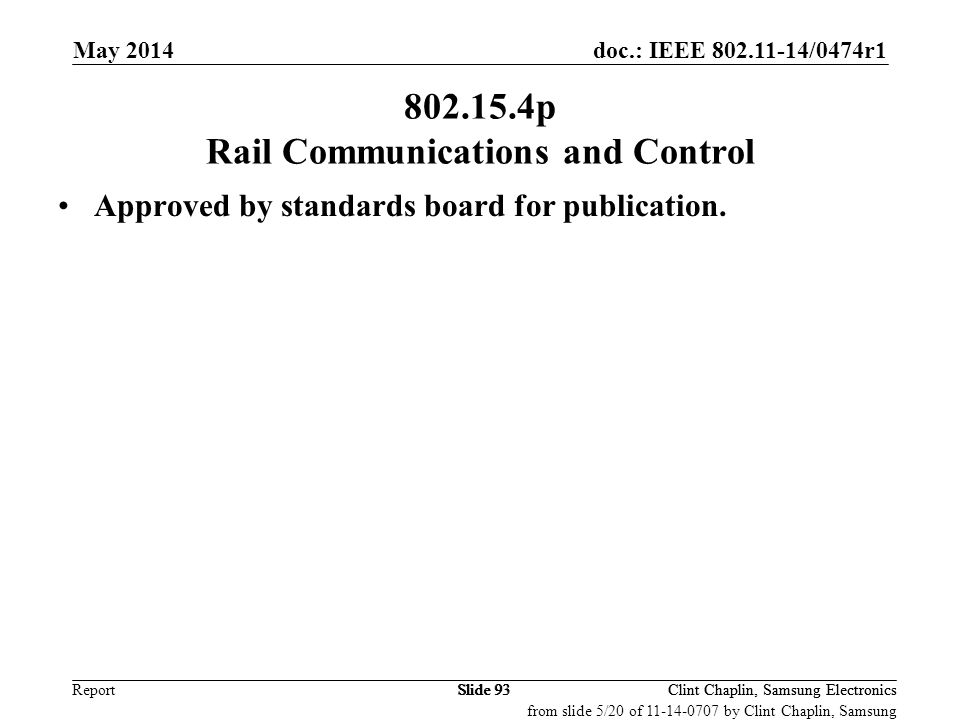 802.15.4p Rail Communications and Control