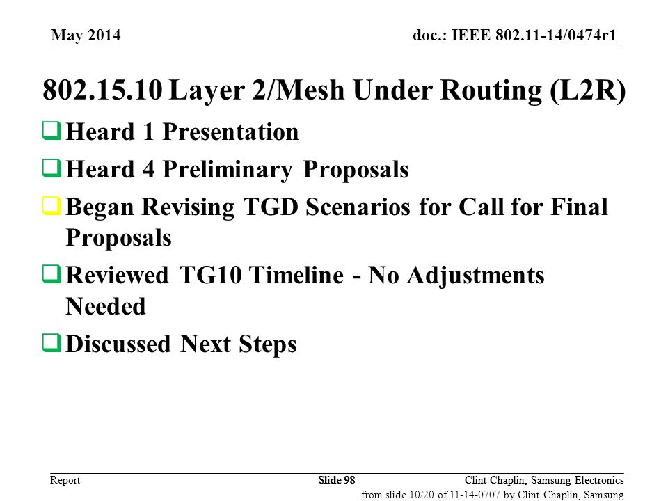 802.15.10 Layer 2/Mesh Under Routing (L2R)