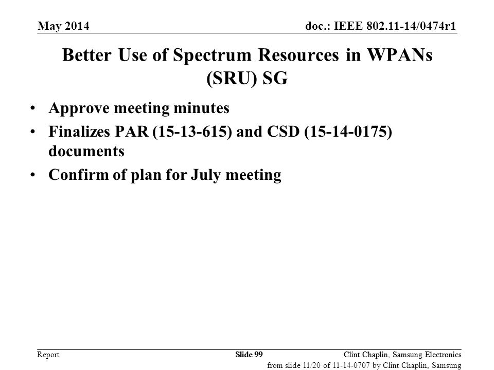 Better Use of Spectrum Resources in WPANs (SRU) SG