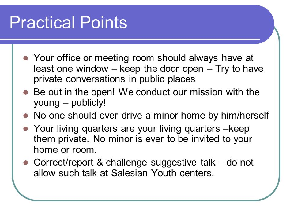 Practical Points