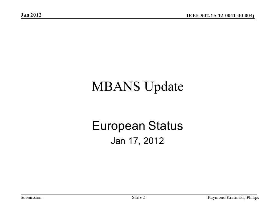MBANS Update European Status Jan 17, 2012 Jan 2012