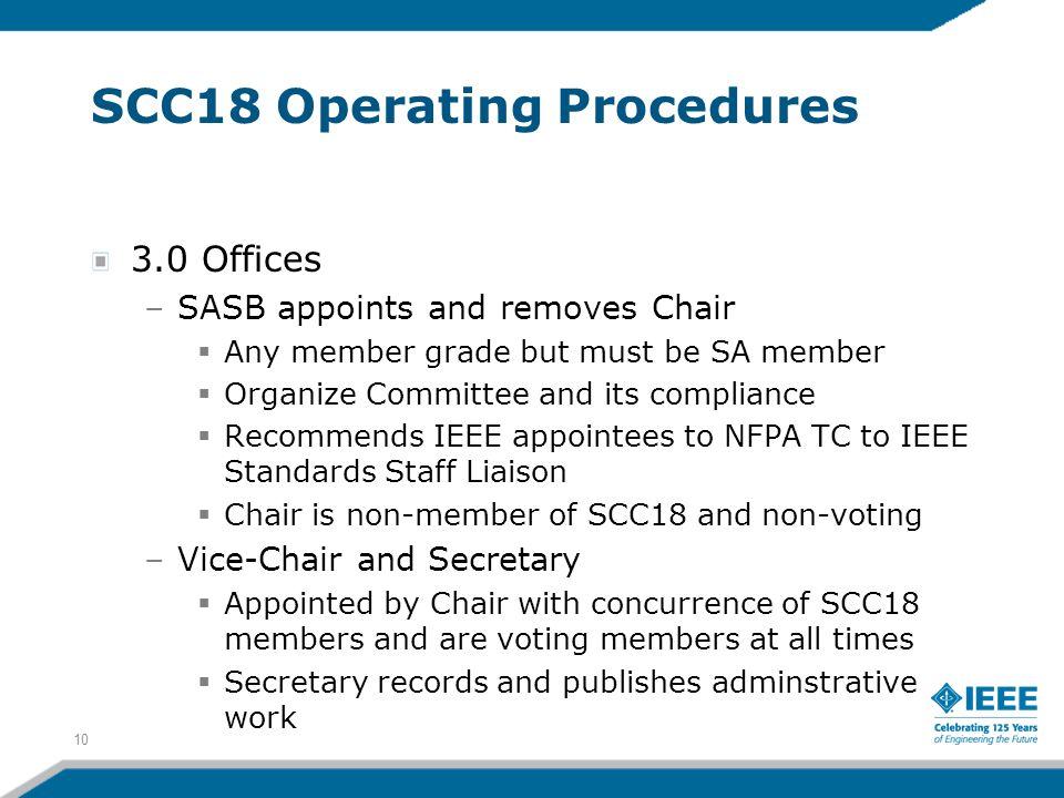 SCC18 Operating Procedures