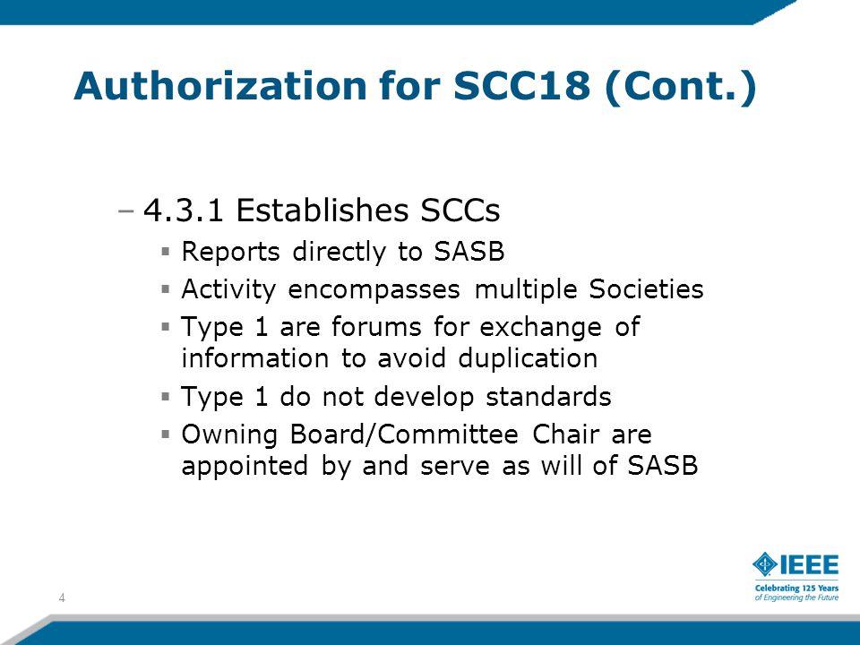 Authorization for SCC18 (Cont.)