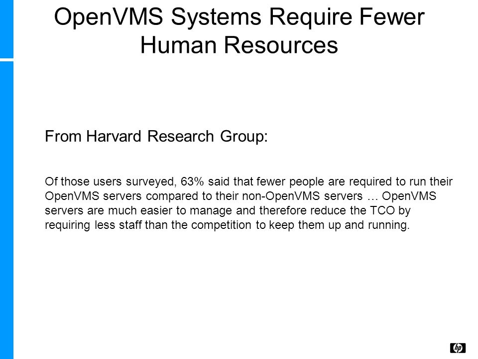 OpenVMS Systems Require Fewer Human Resources