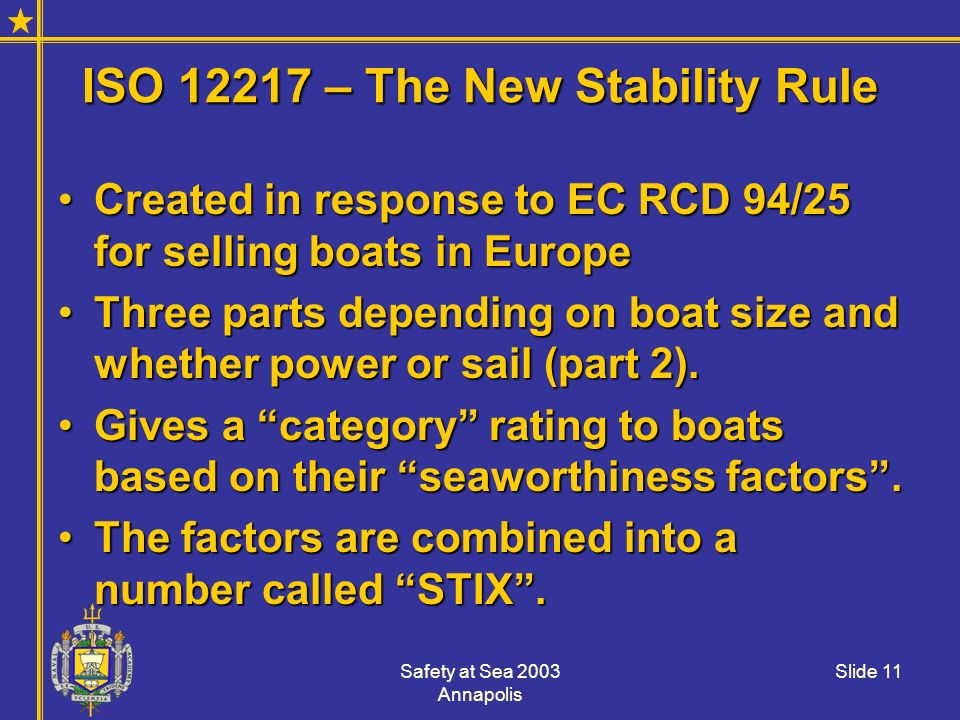 ISO 12217 – The New Stability Rule
