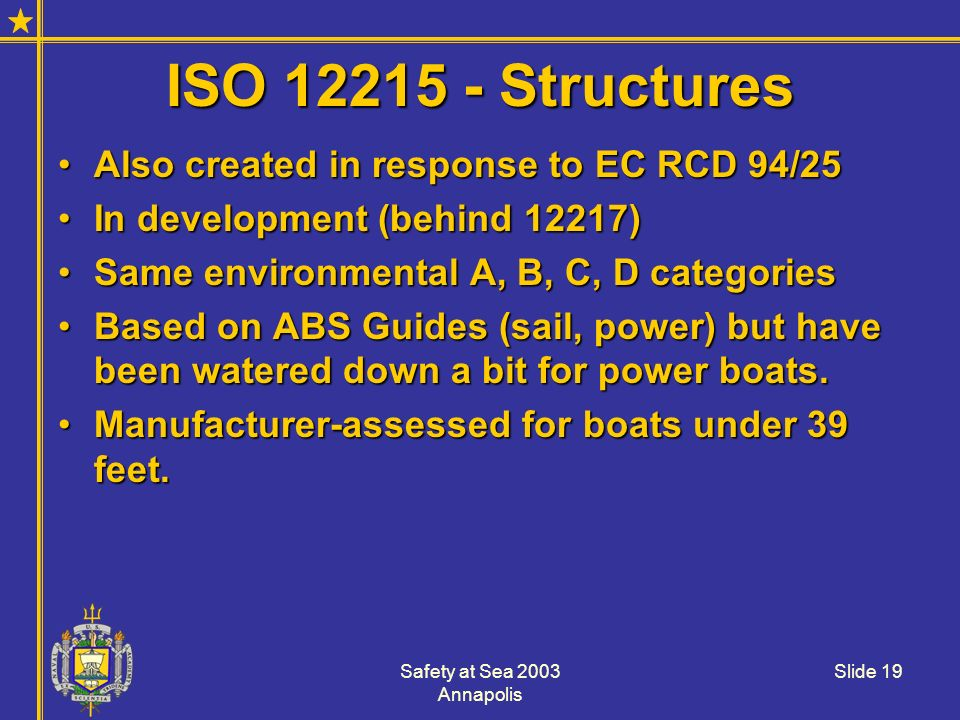 ISO 12215 - Structures Also created in response to EC RCD 94/25