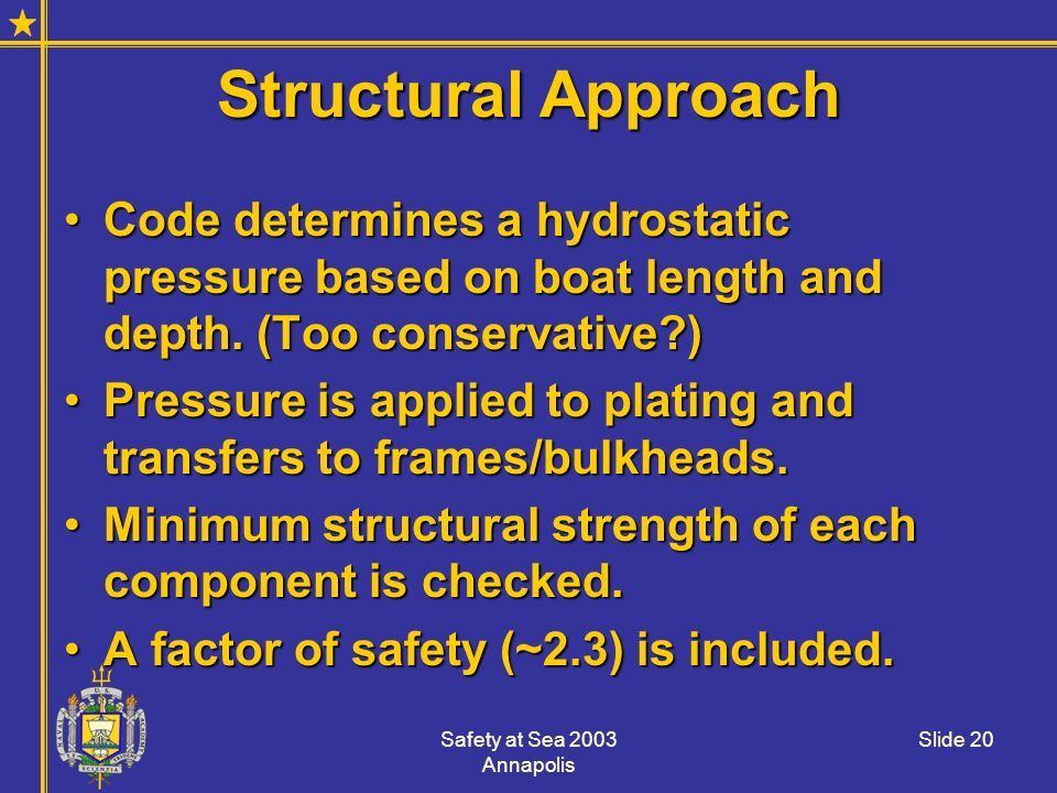 Structural Approach Code determines a hydrostatic pressure based on boat length and depth. (Too conservative )