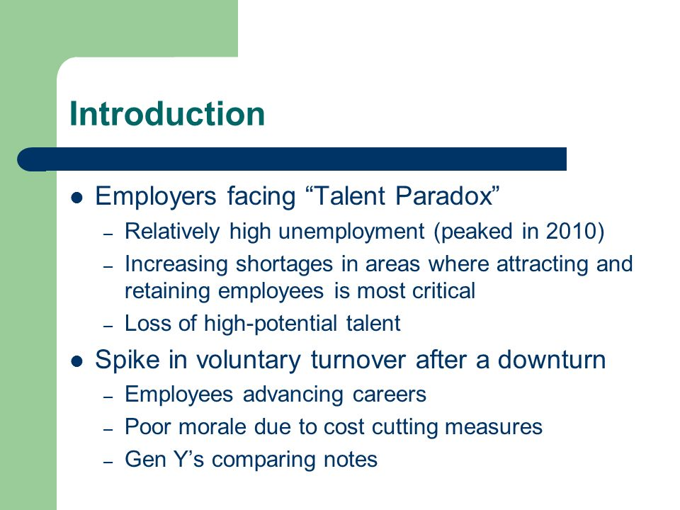Introduction Employers facing Talent Paradox