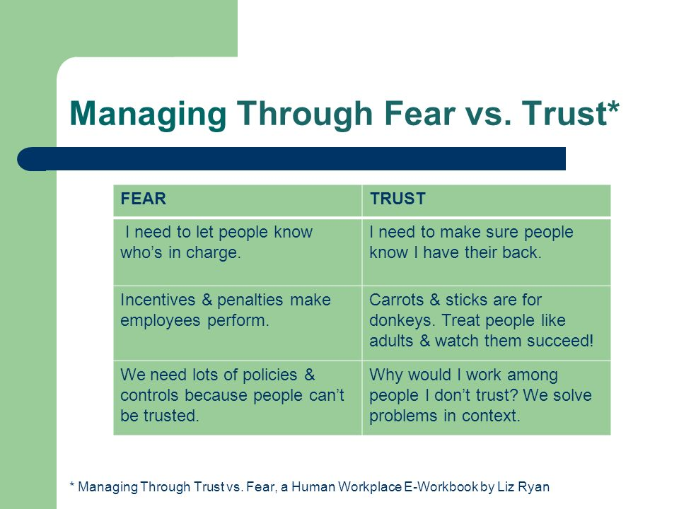 Managing Through Fear vs. Trust*