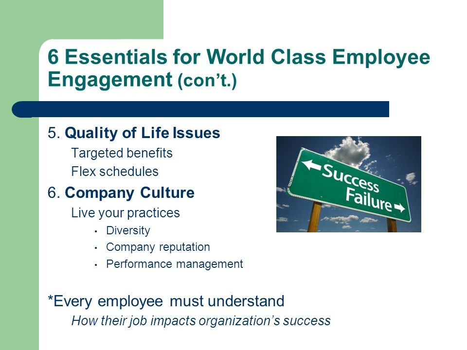 6 Essentials for World Class Employee Engagement (con't.)