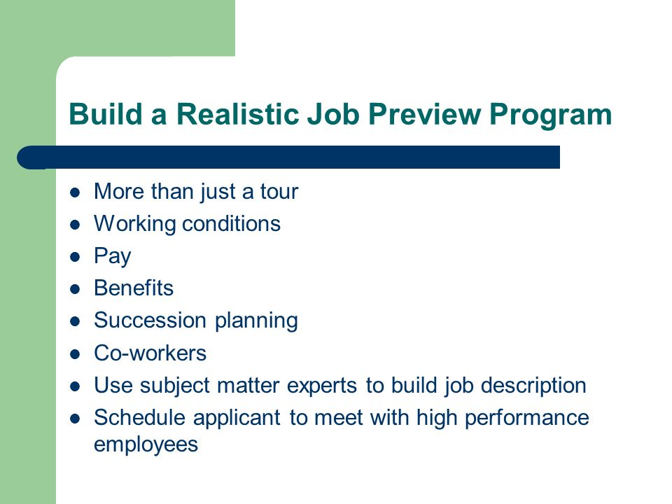 Build a Realistic Job Preview Program