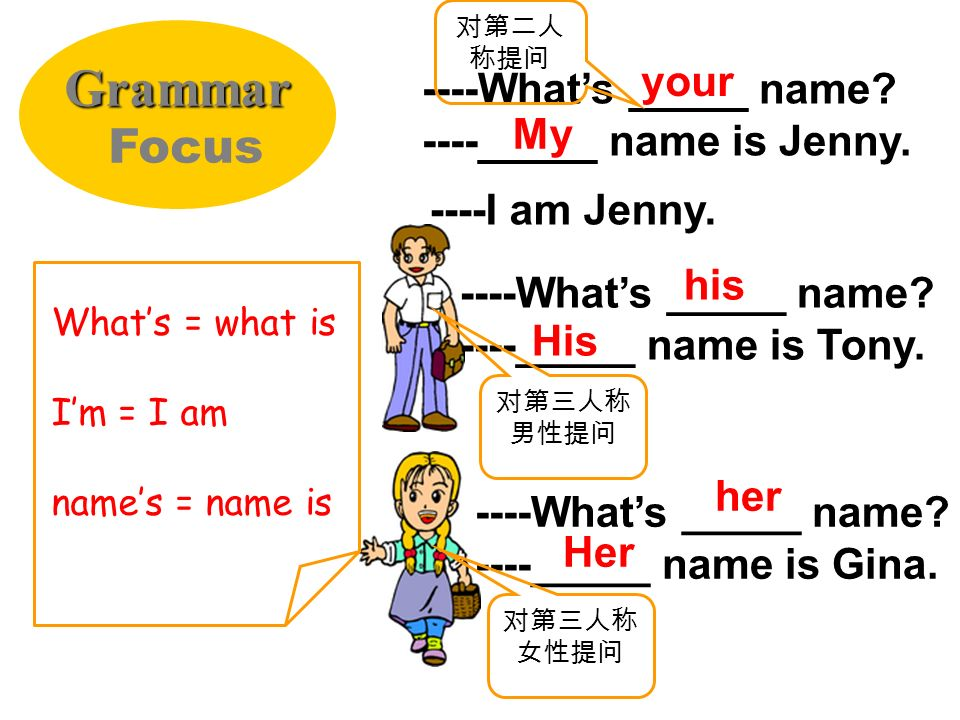 Grammar Focus your ----What's _____ name ----_____ name is Jenny. My