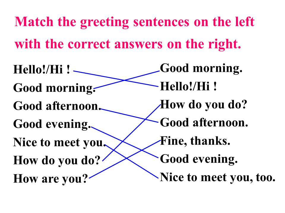 Match the greeting sentences on the left