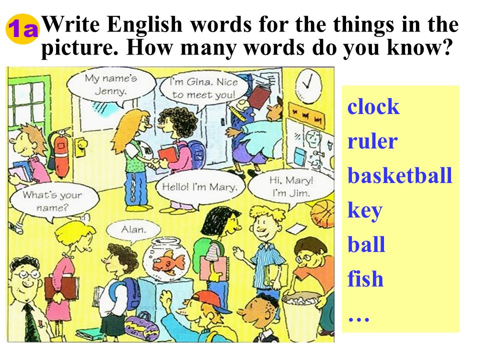 1a Write English words for the things in the picture. How many words do you know clock. ruler. basketball.
