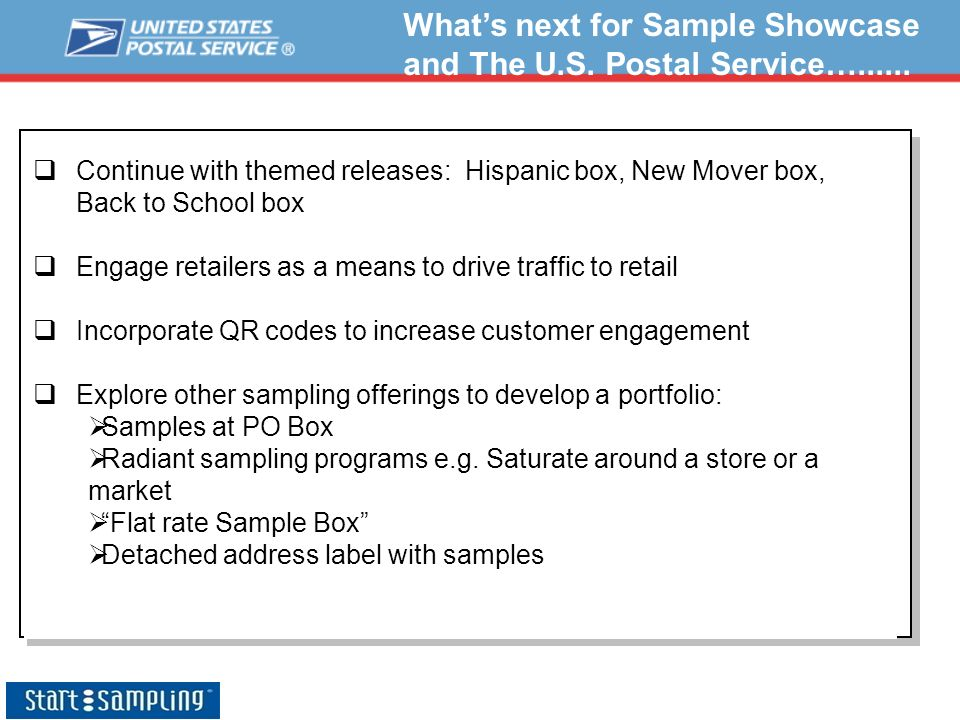 What's next for Sample Showcase and The U.S. Postal Service…......