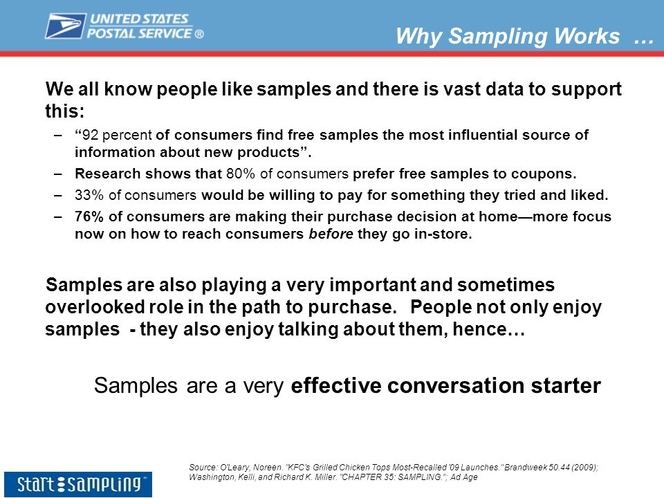 Samples are a very effective conversation starter
