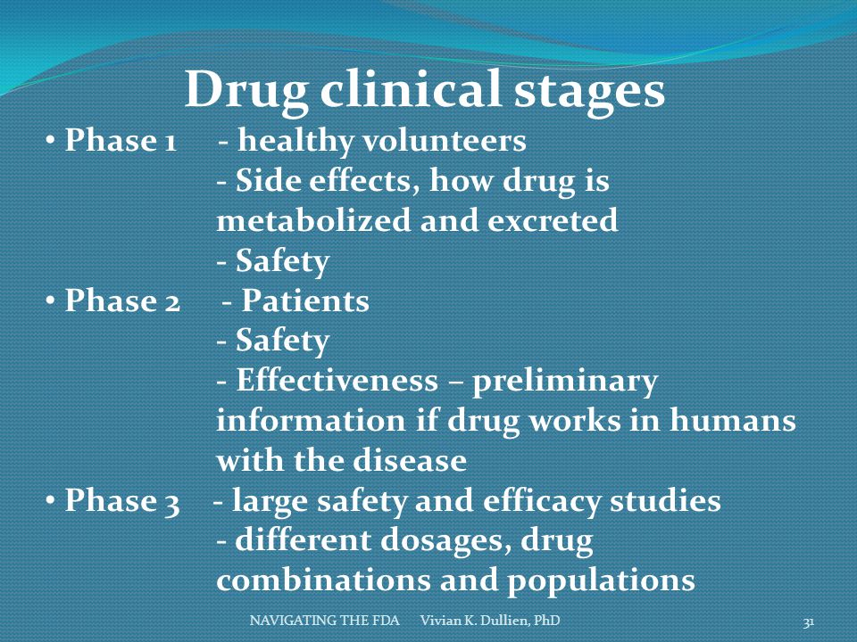 Drug clinical stages Phase 1 - healthy volunteers