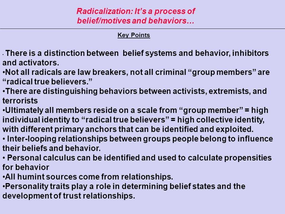 Radicalization: It's a process of belief/motives and behaviors…