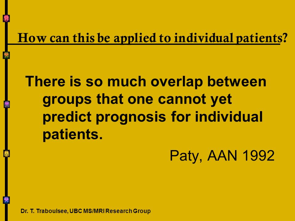 How can this be applied to individual patients