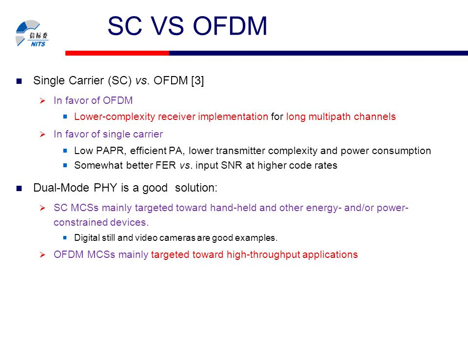 SC VS OFDM Single Carrier (SC) vs. OFDM [3]