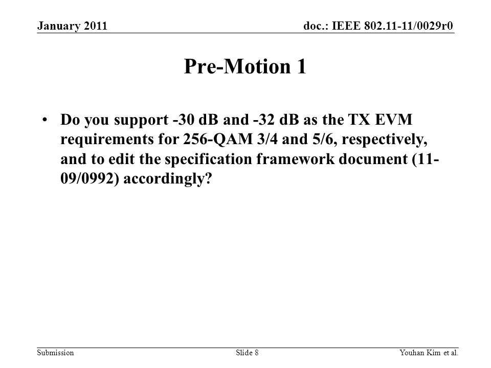 January 2011 Pre-Motion 1.