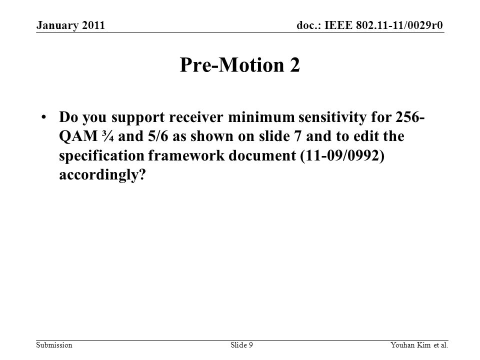January 2011 Pre-Motion 2.