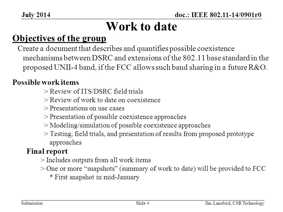 Work to date Objectives of the group Possible work items Final report