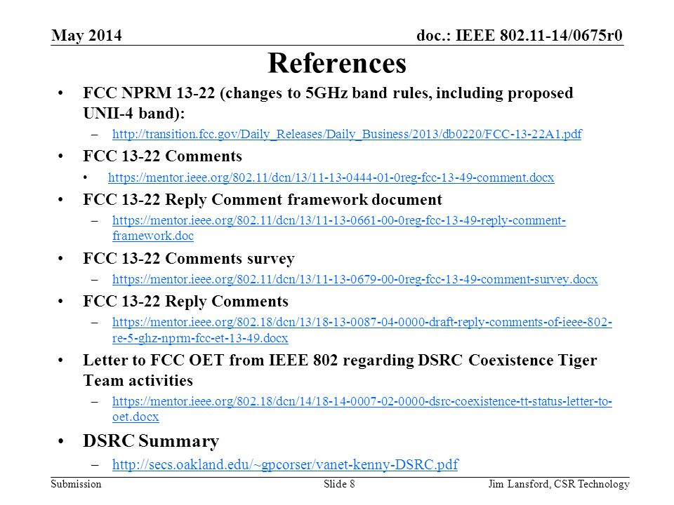 References DSRC Summary May 2014