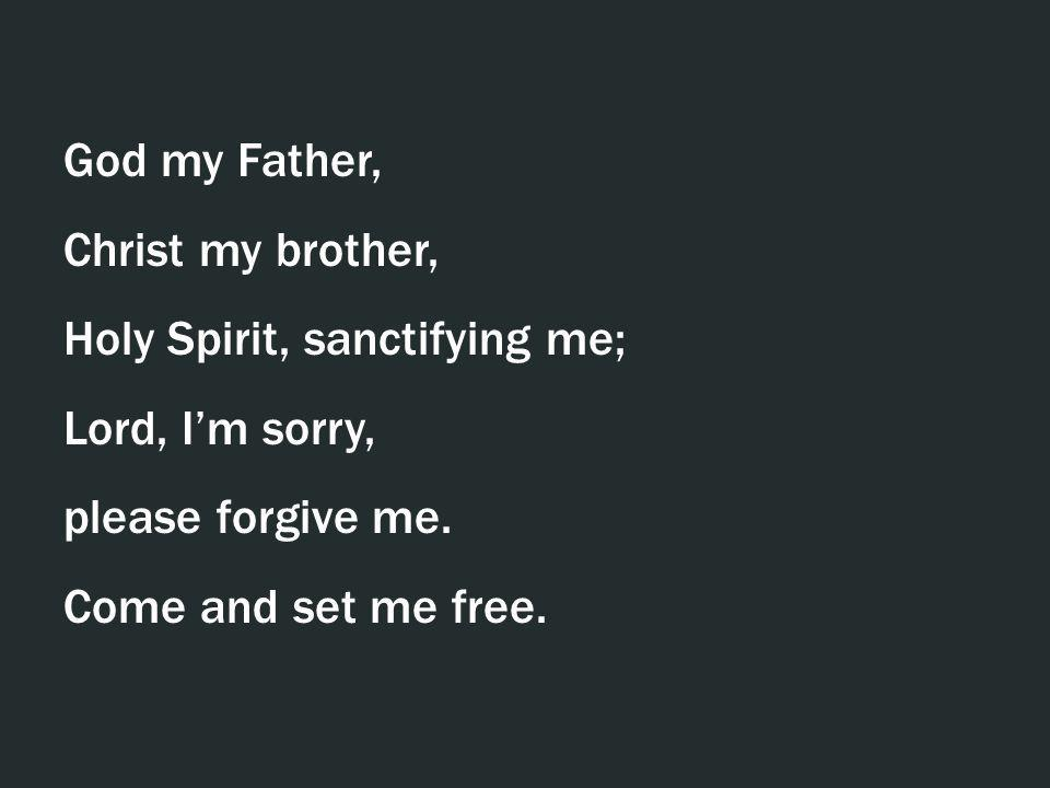 God my Father, Christ my brother, Holy Spirit, sanctifying me; Lord, I'm sorry, please forgive me.