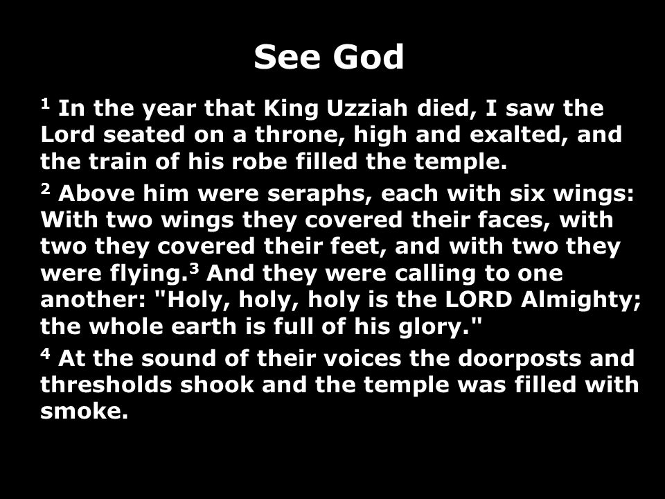 See God 1 In the year that King Uzziah died, I saw the Lord seated on a throne, high and exalted, and the train of his robe filled the temple.