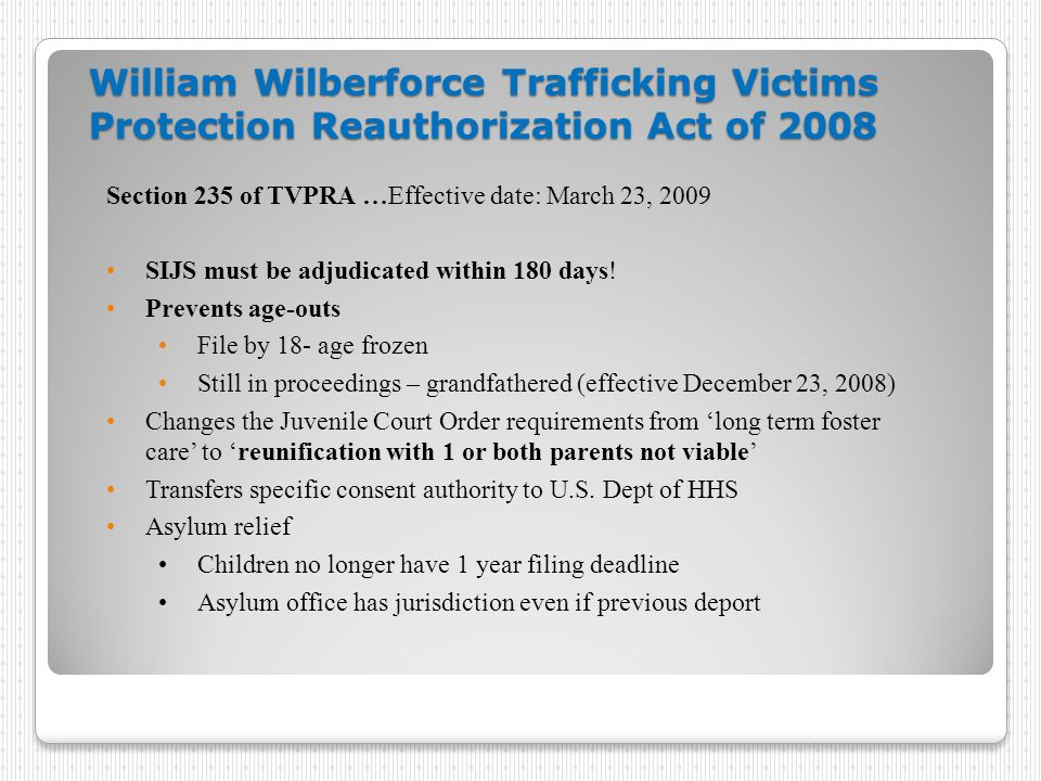William Wilberforce Trafficking Victims Protection Reauthorization Act of 2008