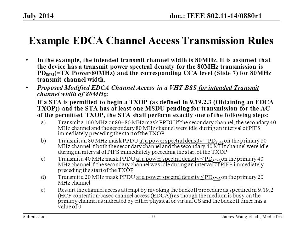 Example EDCA Channel Access Transmission Rules