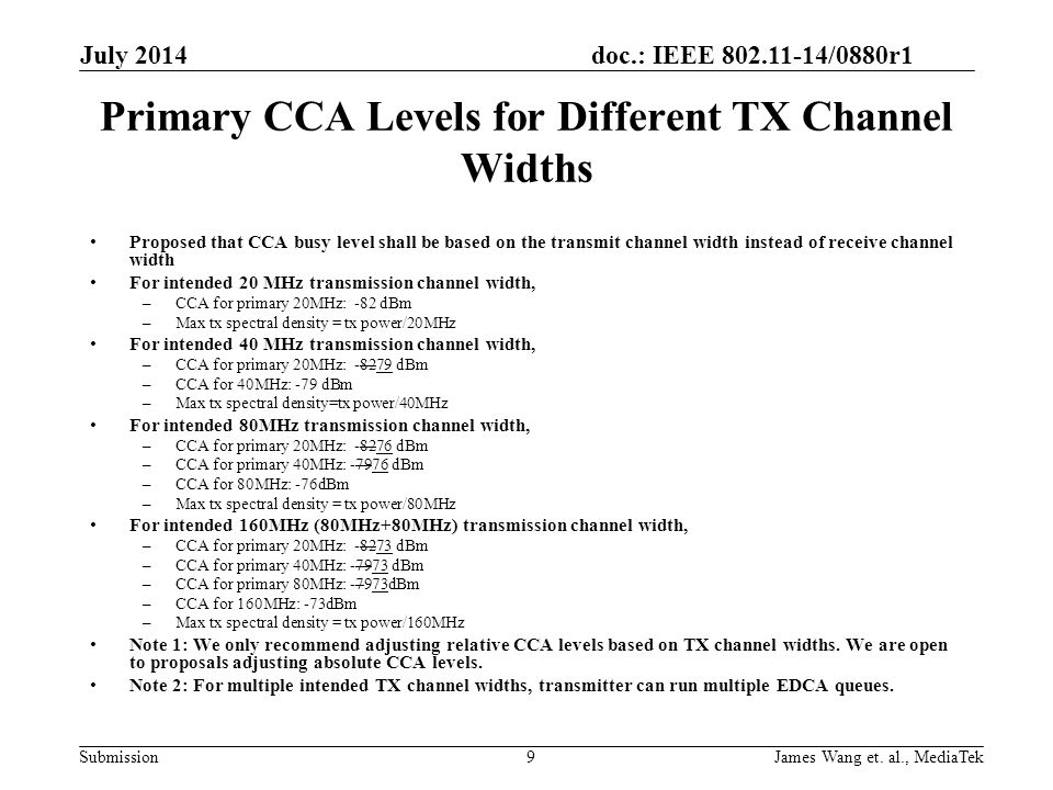 Primary CCA Levels for Different TX Channel Widths