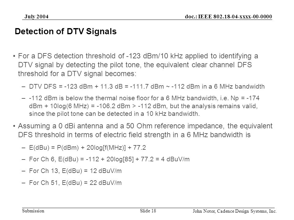 Detection of DTV Signals
