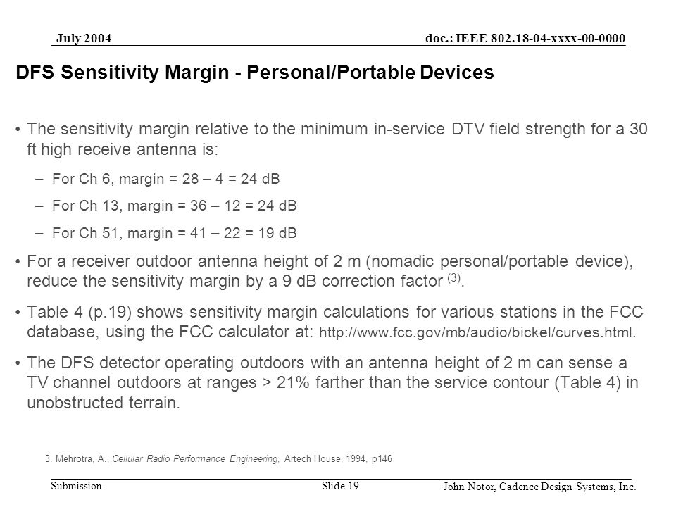 DFS Sensitivity Margin - Personal/Portable Devices