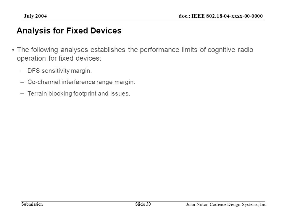 Analysis for Fixed Devices