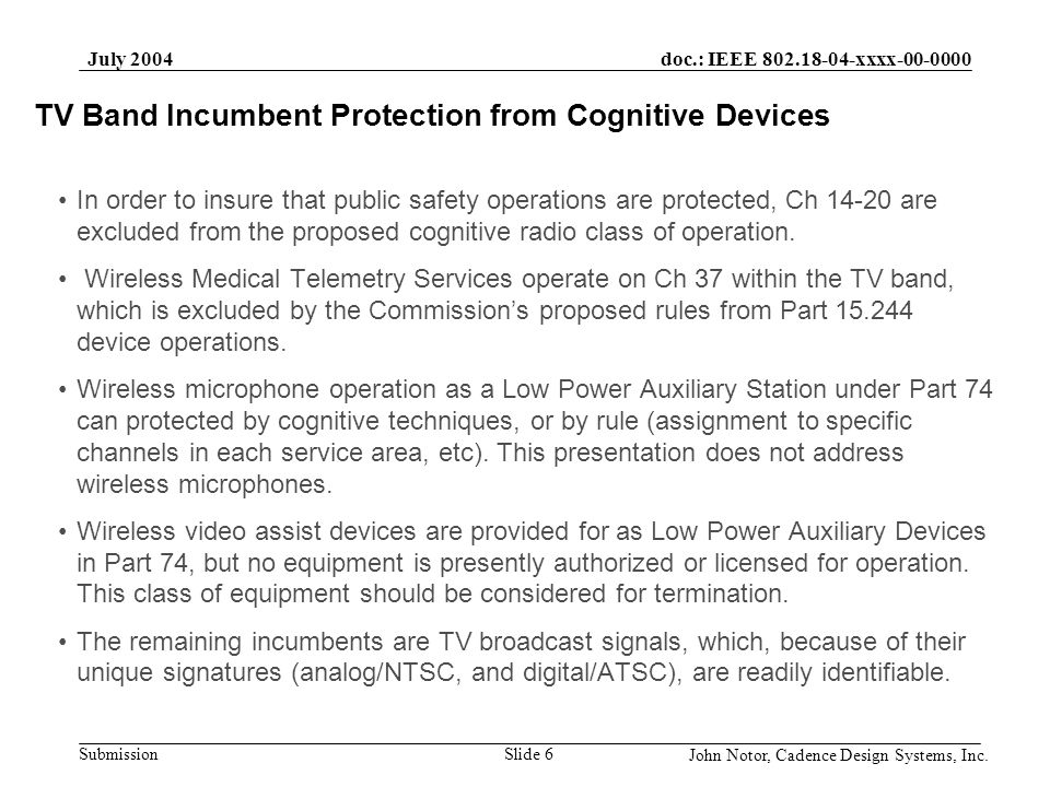 TV Band Incumbent Protection from Cognitive Devices