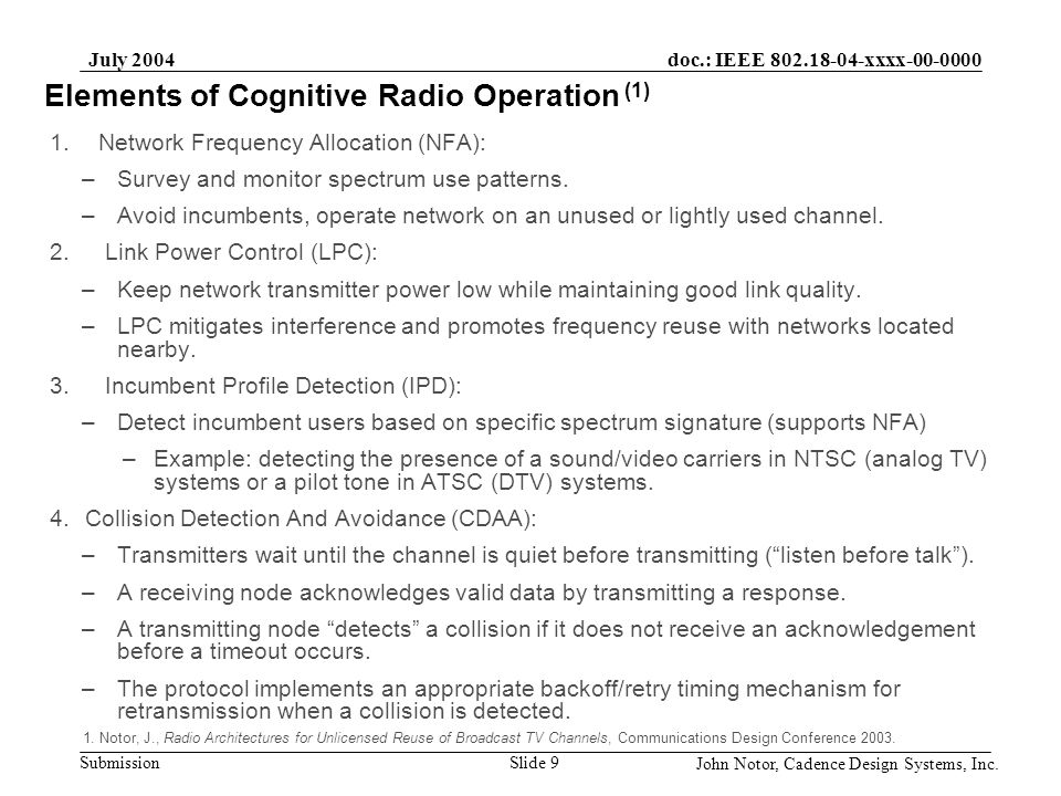 Elements of Cognitive Radio Operation (1)