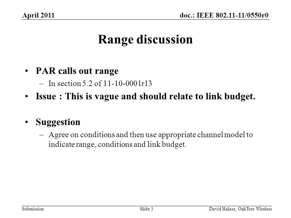 Range discussion PAR calls out range