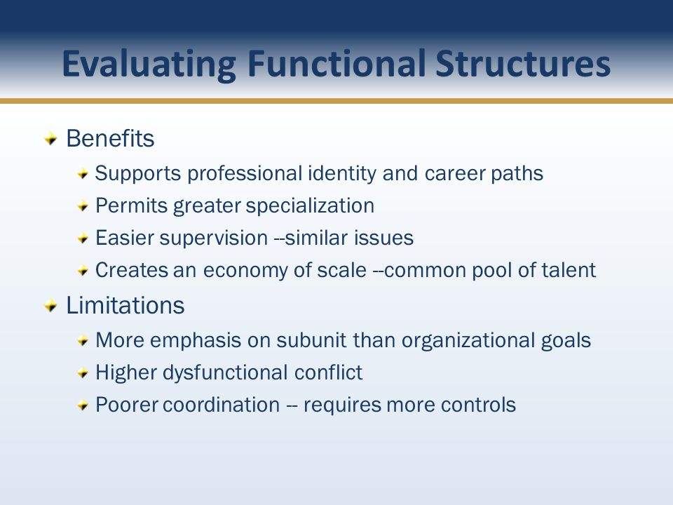 Evaluating Functional Structures