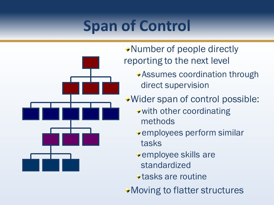 Span of Control Number of people directly reporting to the next level