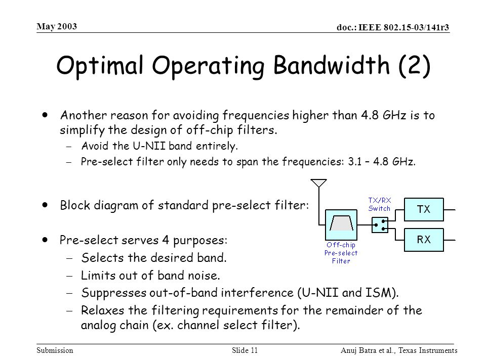 Optimal Operating Bandwidth (2)