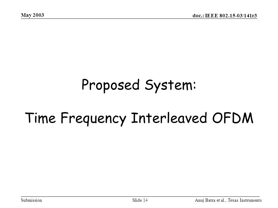 Proposed System: Time Frequency Interleaved OFDM