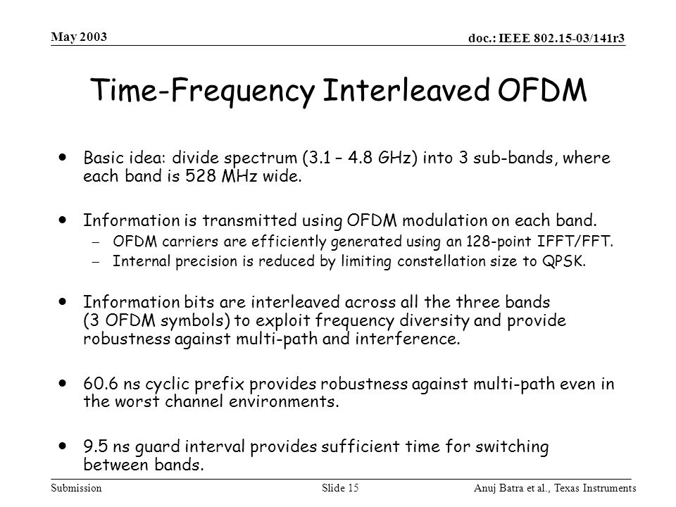 Time-Frequency Interleaved OFDM