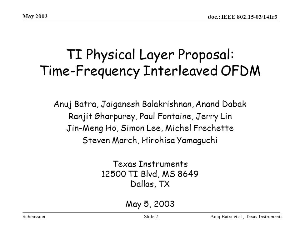 TI Physical Layer Proposal: Time-Frequency Interleaved OFDM