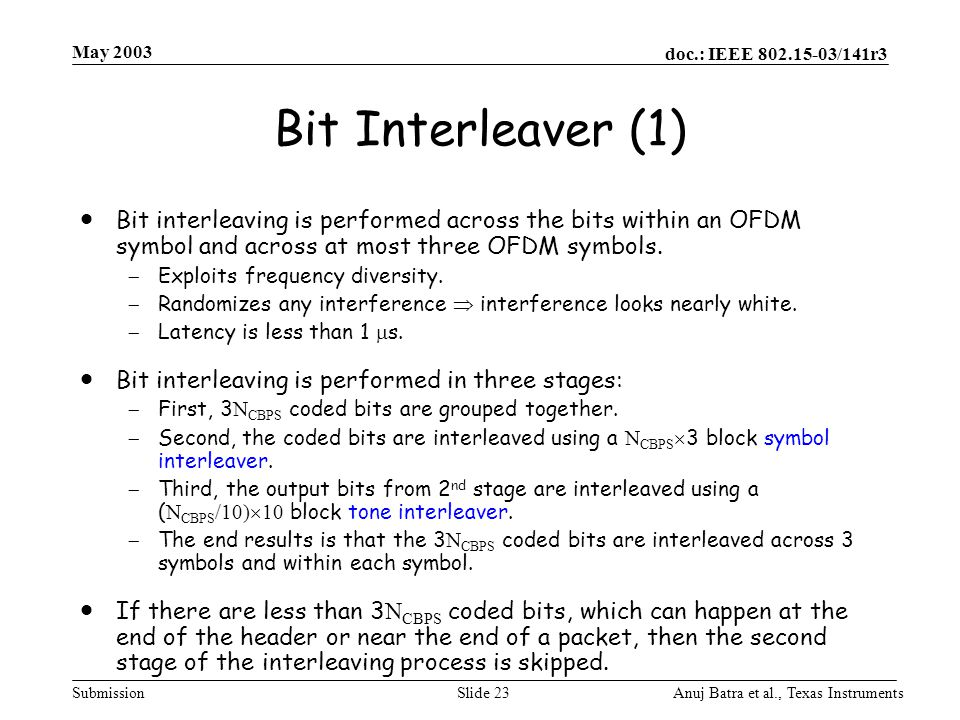 May 2003 Bit Interleaver (1) Bit interleaving is performed across the bits within an OFDM symbol and across at most three OFDM symbols.