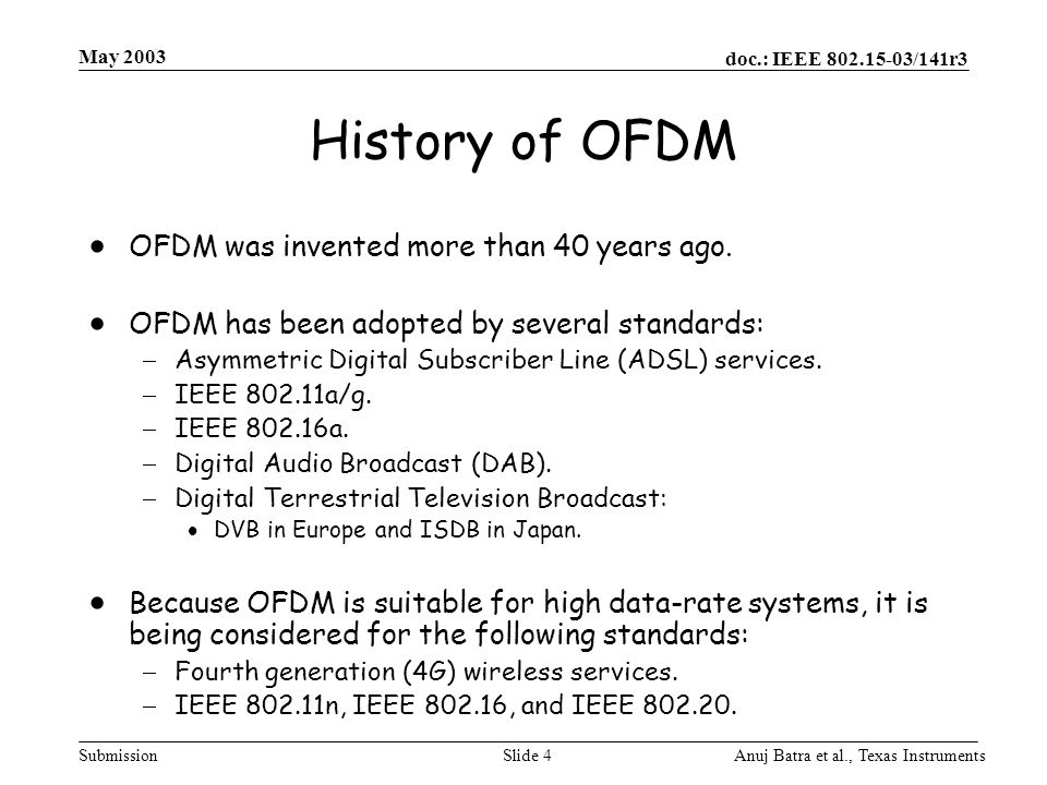 History of OFDM OFDM was invented more than 40 years ago.