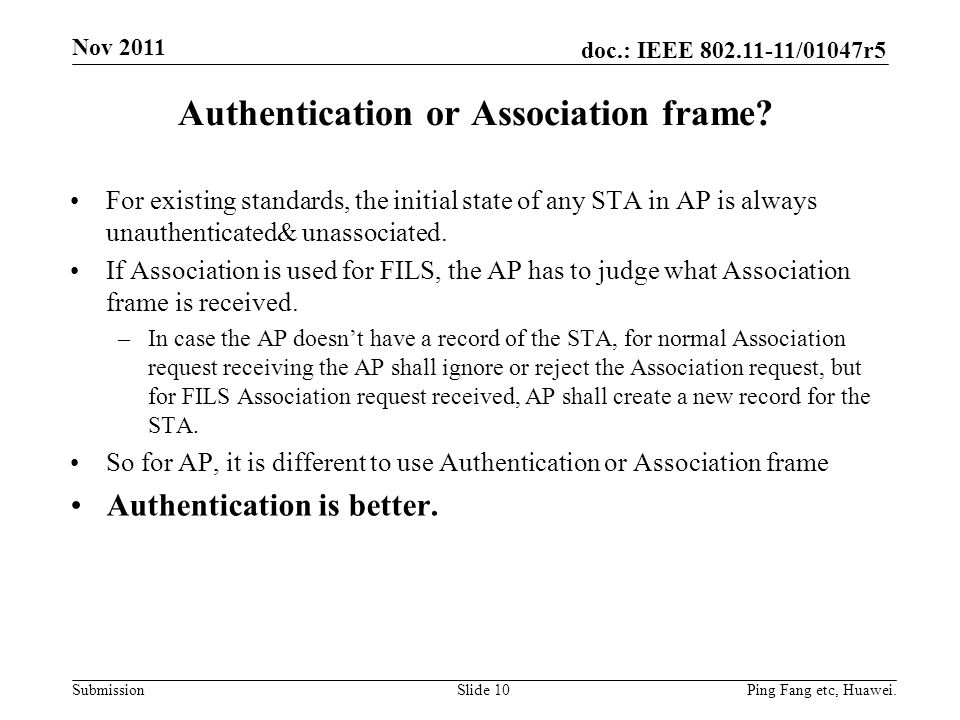 Authentication or Association frame